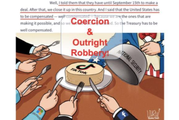 华春莹发推,配了张漫画:这与国家安全或补偿无关,这是胁迫和公然抢劫!